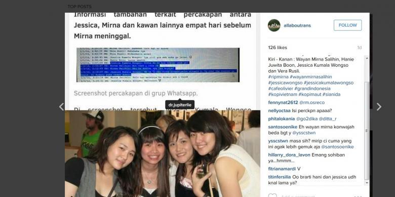 Jessica Mirna whatsapp tersebar di instagram