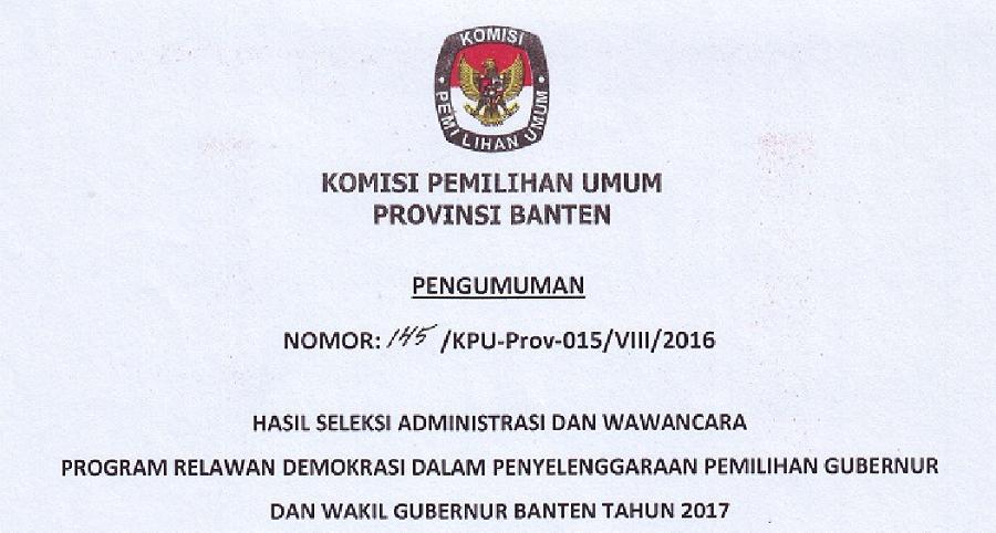 8 Relawan Demokrasi Disahkan KPU Banten
