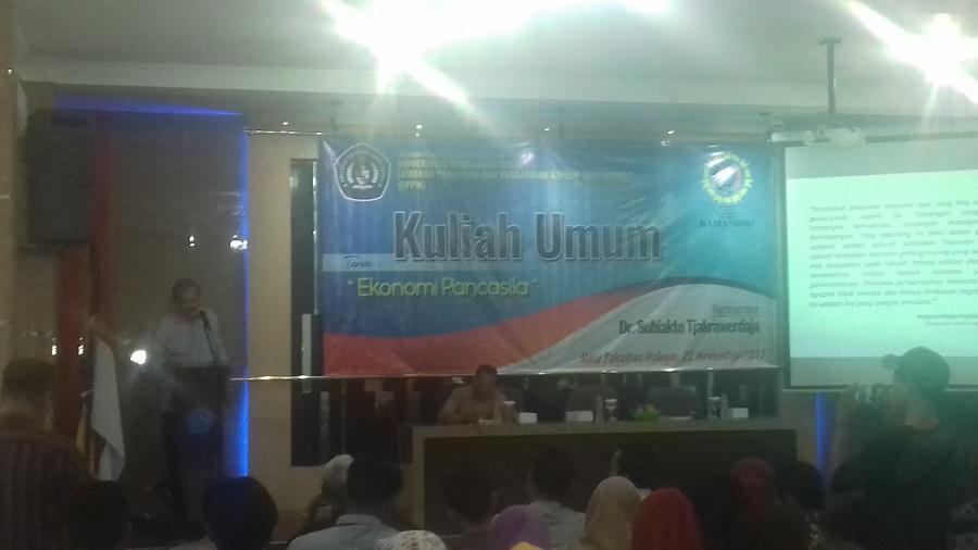 Dr. Subiakto Tjakrawerdaja Hadiri Kuliah Umum Ekonomi Pancasila