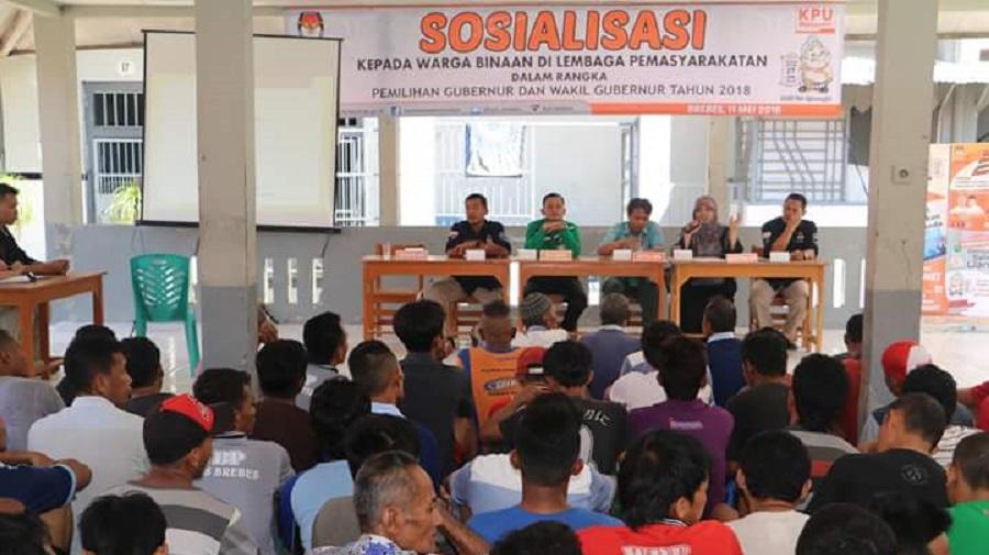 KPU Brebes Beri Sosialisasi Pilgub Kepada 136 Penghuni LP